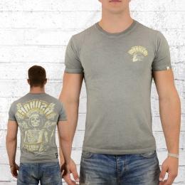 Yakuza Premium Herren T-Shirt Skull King vintage grau