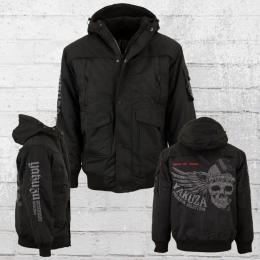Yakuza Premium Herren Winterjacke Wing Skull schwarz