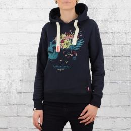 Yakuza Premium Damen Kapuzensweater Flower Skull dunkelblau