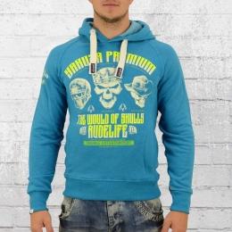 Yakuza Premium Männer Kapuzensweatshirt Three Skulls 2320 blau