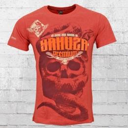 Yakuza Premium Männer T-Shirt Skull Snake rot melange