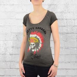 Yakuza Premium T-Shirt Frauen Indian Skull anthrazit