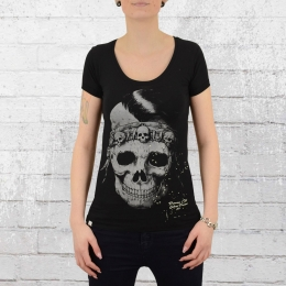 Yakuza Premium Frauen T-Shirt Indian Skull schwarz