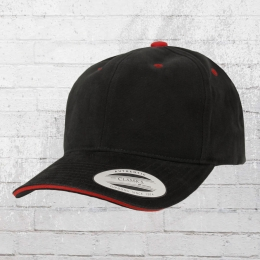 Yupoong by Flexfit Sandwich Cap Brushed Cotton schwarz rot