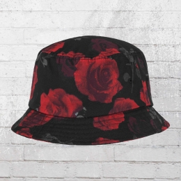 Yupoong by Flexfit Sommer Hut Roses Bucket Hat schwarz rot
