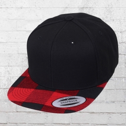 Yupoong Snapback Hat Checked Flanell Peak black red