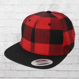Yupoong Snapback Karo Cap Checked Flanell schwarz rot