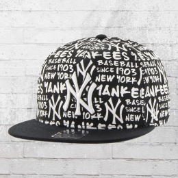 47 Brand New York Yankees MLB Allover Print Snapback Cap  schwarz weiss