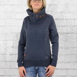 Alife and Kickin Damen Pullover mit hohem Kragen Violet Sweater blau