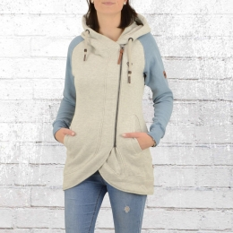 Alife and Kickin Damen Kapuzen Sweat Jacke Mary C grau blau