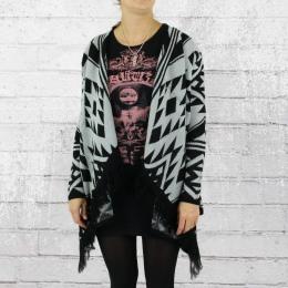 All About Eve Damen Strickjacke Wild Blanket Cardigan ohne Knöpfe schwarz grau