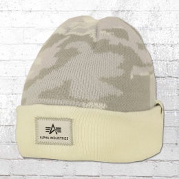 Alpha Industries Winter Mütze X-Fit Camo Beanie weiss