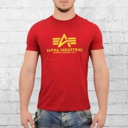 Alpha Industries Basic T-Shirt Herren rot gelb