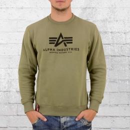 Alpha Industries Herren Basic Sweater oliv grün