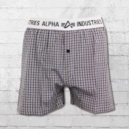 Alpha Industries Herren Boxershort Bodywear Boxer Checked braun