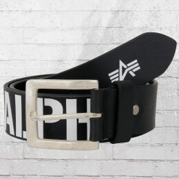 Alpha Industries Ledergürtel Embossed Logo schwarz