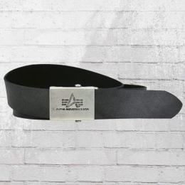 Alpha Industries Ledergürtel Leather Belt schwarz
