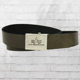 Alpha Industries Ledergürtel Leather Belt washed oliv