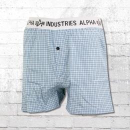 Alpha Industries Männer Boxershort Bodywear Boxer Checked blau
