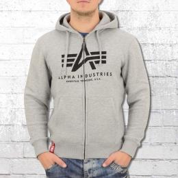 Alpha Industries Männer Kapuzenjacke Basic Zip Hoody grau melange
