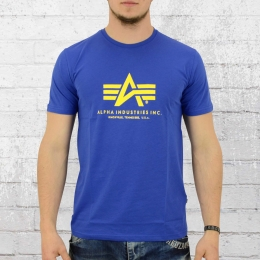 Alpha Industries Männer T-Shirt Basic T blau