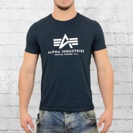 Alpha Industries Männer T-Shirt Basic Tee blau