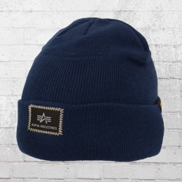Alpha Industries Strick Mütze X-Fit Beanie blau
