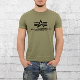 Alpha Industries T-Shirt Herren Basic oliv grün