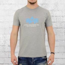 Alpha Industries T-Shirt Männer Basic Foam Print grau meliert