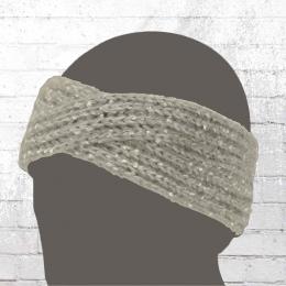 AOP Strick Stirnband Mit Pailletten grau melange