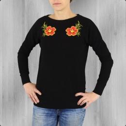 Ato Berlin Frauen Pullover Aurora Blume schwarz