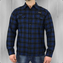 Wrung Holzfäller Langarm Hemd Authentic Men Shirt blue