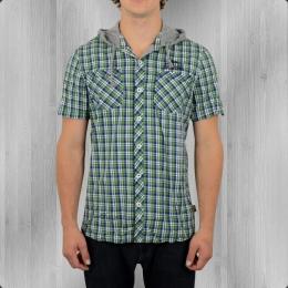 Lonsdale London Hemd Bletchley mit Kapuze grün weiss blau