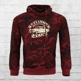 Bordstein Hoody 3 Zylinder 2-Takt Camo Kapuzen Sweater rot