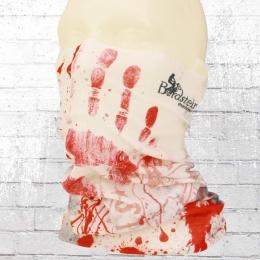 Bordstein Schlauch-Schal Blutige Hand weiss rot