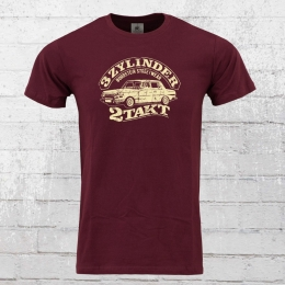 Bordstein Slim Fit Men T-Shirt 3 Zylinder 2-Takt 353 wine red