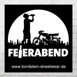 Bordstein Streetwear Aufkleber Feierabend S51 schwarz weiss