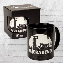 Bordstein Streetwear Kaffeebecher Feierabend Tasse schwarz weiss
