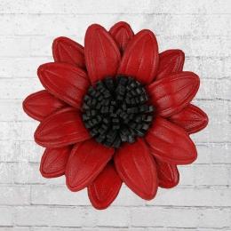 Dahlie Blume zum Anstecken aus Leder rot