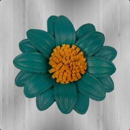 Dahlie zum Anstecken Lederblume petrolblau