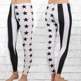 Damen Leggings Stars N Stripes weiss schwarz