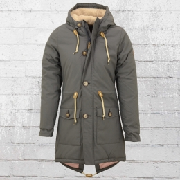 Derbe Damen Festland Friese Wintermantel Parka grau