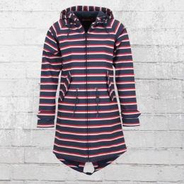 Derbe Damen Friesen Mantel Island Multistriped blau rot weiss