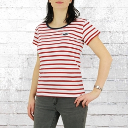 Derbe Damen T-Shirt Small Ship rot weiss gestreift