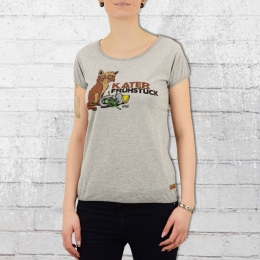 Derbe Womens T-Shirt Hangover Breakfast grey marl