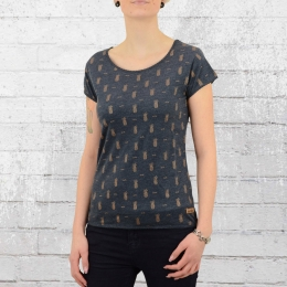 Derbe Womens T-Shirt Pineapple navy grey melange