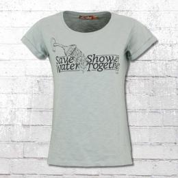 Derbe Damen T-Shirt Save Water Shower Together grau