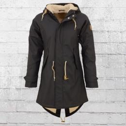 Derbe Damen Winter Regenjacke Travel Cozy Friese Mantel mit Fell schwarz