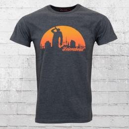 Derbe Feierabend T-Shirt Reloaded grau blau meliert XL