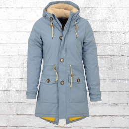 Derbe Frauen Winterjacke Festland Friese Wintermantel Parka hellblau